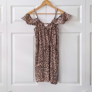 Parker Ruffle Side Cheetah Print Silk Dress | S